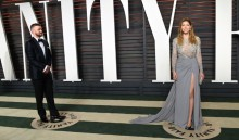 Justin Timberlake, left, and Jessica Biel  arrive at the Vanity Fair Oscar Party on Sunday, Feb. 28, 2016, in Beverly Hills, Calif. (Photo by Evan Agostini/Invision/AP)