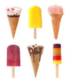 Selection of icecream cones and ice lolly flavors over over a white background
