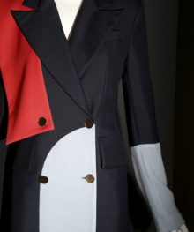 """A creation by Charles Harbison is displayed at the opening of the """"Black Fashion Designers"""" exhibit at the Fashion Institute of Technology in New York, Tuesday, Dec. 6, 2016.  Running through May 16, the show offers a glimpse into exactly how impactful designers of color have been through the decades.  (AP Photo/Seth Wenig)"""